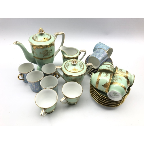 310 - Noritake coffee set and a set of lustre coffee cups & saucers