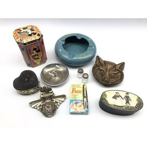 314 - Cast metal Fox pin dish, advertising ashtray, heart shaped pin cushion trinket box, Mickey Mouse box...