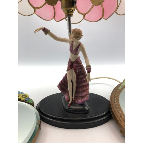 316 - Art Deco style figural table lamp and two Barbola mirrors (3)