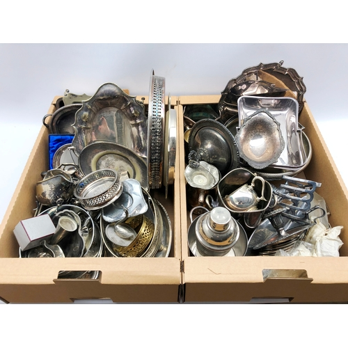 322 - Quantity of silver-plated wares including bottle stands, cocktail shaker, napkin rings, entree dishe...