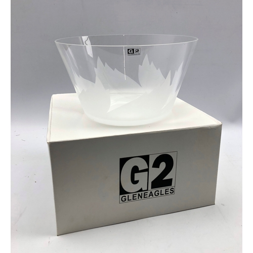 324 - Gleneagles partly frosted glass bowl with original box