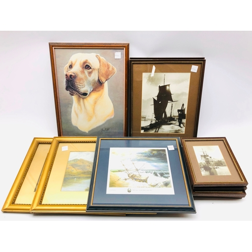 328 - Sutcliffe framed prints, Labrador print and a limited edition ship print, pair of paintings etc
