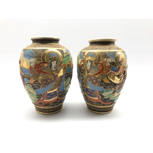 330 - Pair of 20th century Japanese baluster vases decorated with figures H25cm