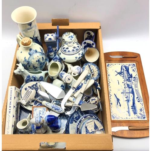 335 - Quantity of Delft pottery in one box