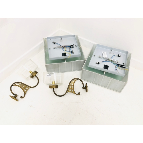 339 - Pair of modern square ceiling light fittings and a pair of brass wall lights with glass shades