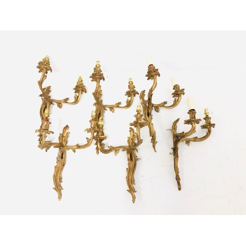 341 - Set of six antique design two branch wall lights