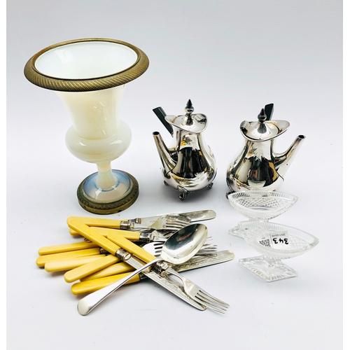 343 - Milk glass campana shape vase with gilt metal mounts H22cm, pair of Georgian design glass pedestal s...