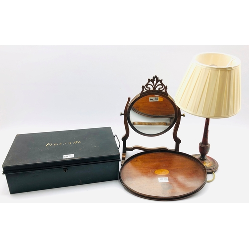 344 - Small Edwardian oval inlaid mahogany tray W35cm, small oval swing toilet mirror, metal deed box and ...
