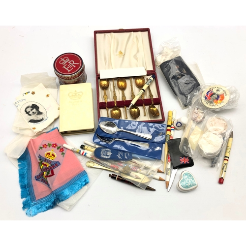 345 - Collection of Queen Elizabeth commemorative collectables including pens, badges, match stick tin, si...