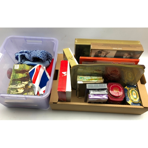 346 - Collection of Queen Elizabeth commemorative collectables including jigsaw puzzles, tins, videos, tow...