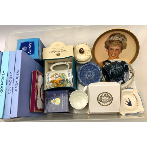 349 - Large collection of commemorative collectables including wedgwood, cased mugs, coronation pin dishes...