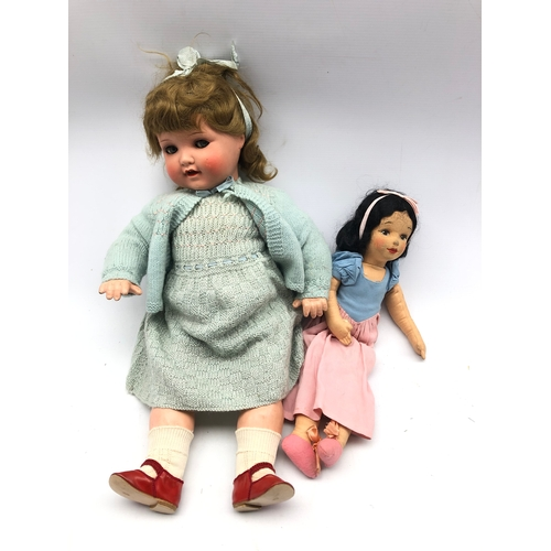 350 - Armand Marseille bisque head doll no. 966.8 and a 1930's pressed felt doll (2)