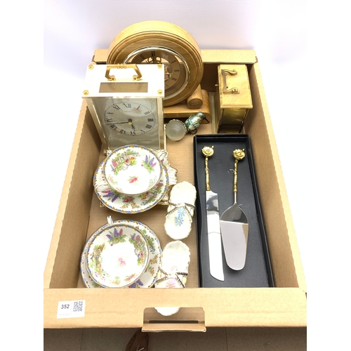352 - Three mantel clocks, pair of Aynsley soup bowls and stands, pair of Meakin baskets etc