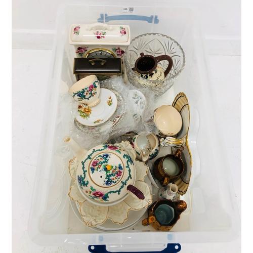 355 - Royal Cauldon part tea set, heavy cut glass vase, two mantle clocks etc in one box