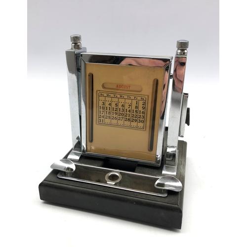 364 - Art Deco chrome plated desk calendar