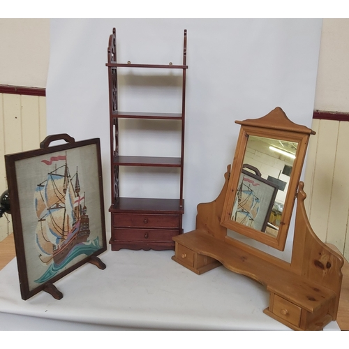 37 - Dressing Table Mirror,Tapestry Fire Screen and a Shelving Unit