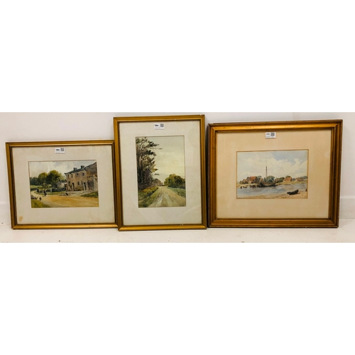 370 - Polperro watercolour, Percival Smith early 20th c watercolour, and pair landscape watercolours signe...