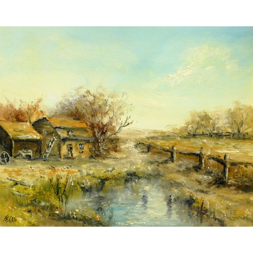 373 - Fegan (20th century): Farmyard Pond, oil on board signed; R L Young (20th century): Cattle Grazing, ...