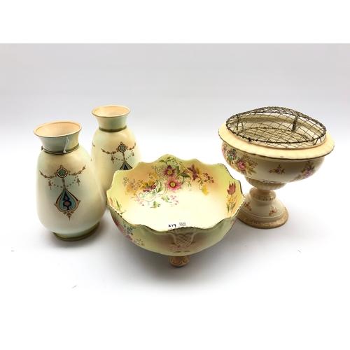 379 - Crown Devon rose bowl,  pair of Crown Devon vases H22cm and a Carlton Ware fruit bowl