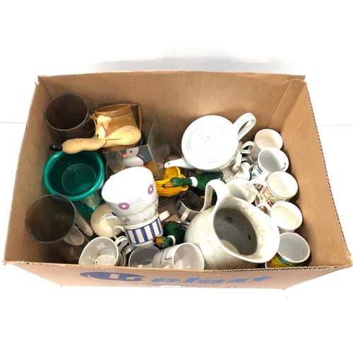 38 - Box of mixed ceramics and glassware, to include an Adams England jug, household mugs and other