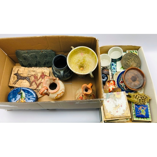 386 - Two Tremar pottery animals, various tiles, Cornish studio pottery oval box and cover, Greek pottery ...