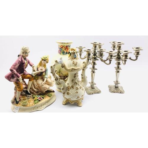 391 - Pair of plated candelabra, Capodimonte coffee pot etc