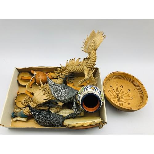 399 - Moroccan Safi vase, number of small African items, bowl, plaster ushabiti etc