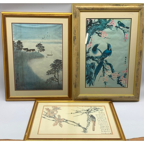 417 - Oriental coloured print of a Woodpecker on a branch, 32cm x 53cm and two others (3)