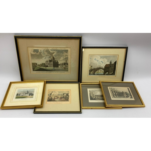 419 - 19th century hand-coloured engravings, including Castle Howard 'Engraved for the Modern Universal Br...
