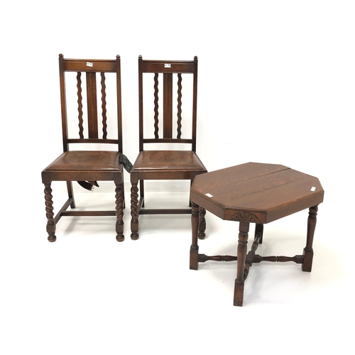 432 - Early 20th century oak occasional table (W66cm) together with a pair of early 20th century oak dinin...