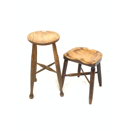 435 - 19th century elm stool, and another stool with saddle seat