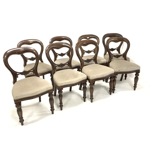 441 - Set eight Victorian style balloon back dining chairs with floral carved rail over upholstered seat, ...