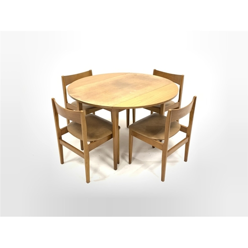 449 - Mid 20th century teak veneered and beech circular drop leaf dining table, (D113cm, H73cm) together w...