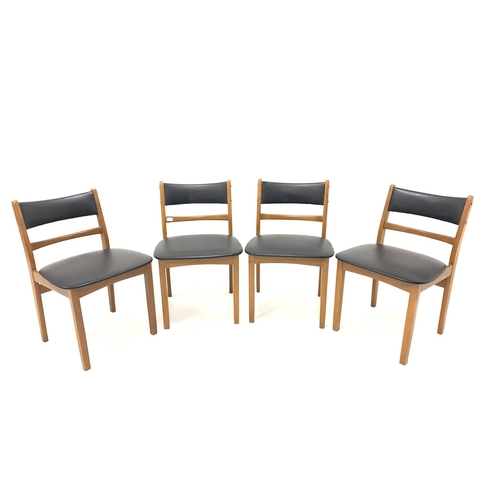450 - Set four mid 20th century beech dining chairs with black vinyl upholstered back and seats
