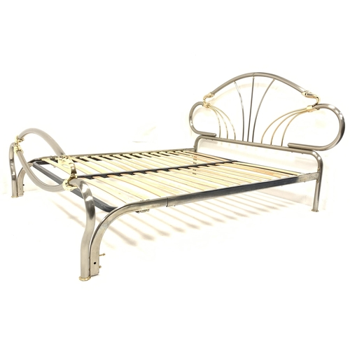 451 - Contemporary chrome and brass double bed, with slatted base