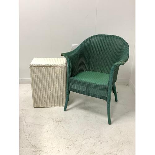 455 - Lloyd loom tub shaped chair, together with a Lloyd Loom style laundry basket