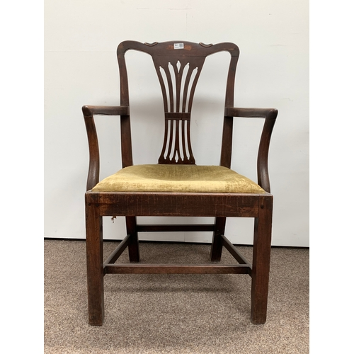 461 - Georgian mahogany elbow chair with open arms and drop in upholstered seat pad