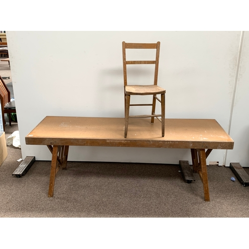 466 - trestle table and side chair
