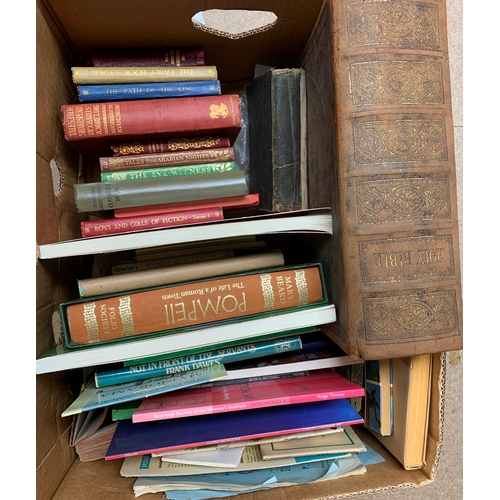 503 - Books including leather bound bible, paperbacks etc, in one box