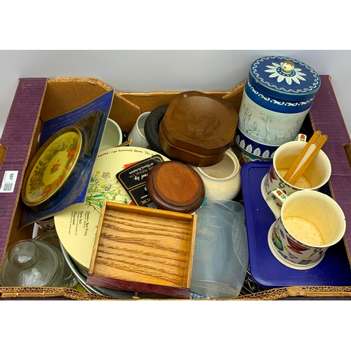 507 - Tins, mugs, miscellaneous items etc, in one box