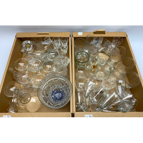 521 - A quantity of drinking glasses and other glassware, in two boxes