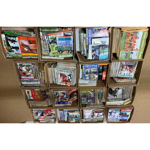 523 - Large collection of largely equestrian magazines, to include Horse and Hound, in sixteen boxes