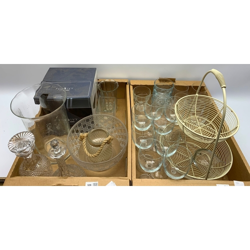 529 - Glassware including two decanters, wine glasses, vase etc and a two tier basket, in two boxes