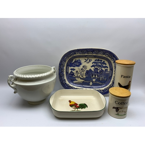 534 - Large blue and white meat platter, twin handled jardinière and three items of 'English Pottery Clove...