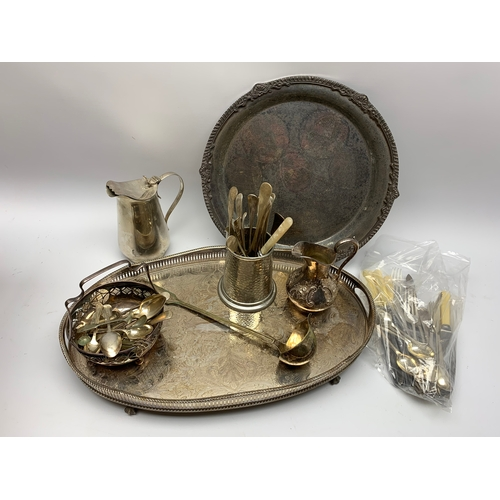 535 - Plated items including Viner's 'silver plate Taiwan' tray, oval tray with integral handles, flatware...