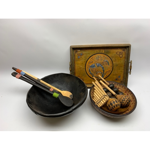 536 - Bamboo panpipe, other musical items, rectangular twin handled wooden tray with painted and carved de...