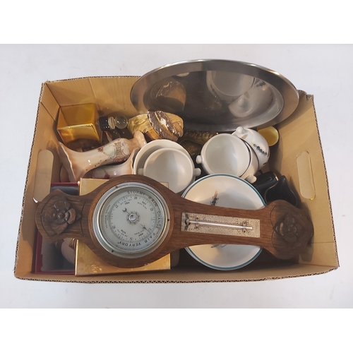 54 - Box containing Ceramics and Barometer