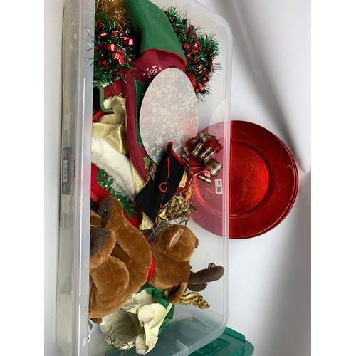 540 - Christmas decorations including tealight holders, red serving plates, stocking etc, in two boxes