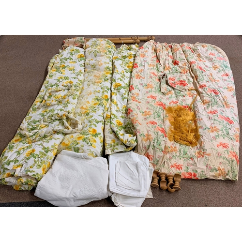 541 - Various curtains, two wooden curtain poles and other textiles, in two boxes
