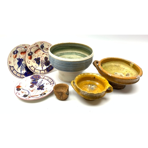 547 - Studio pottery bowl, together with three small Gaudy welsh plates, and three stoneware vessels